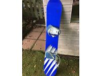 Snowboard Spire 154 Blue! White stripes, with foot bindings