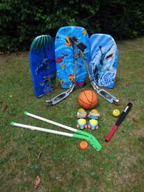 Childrens outdoor toys - scooters , body-boards ,baseball bat & ball,hockey,roller-skates,basketball