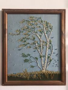 Beautiful Embroided Art - Birch Tree scene on linen