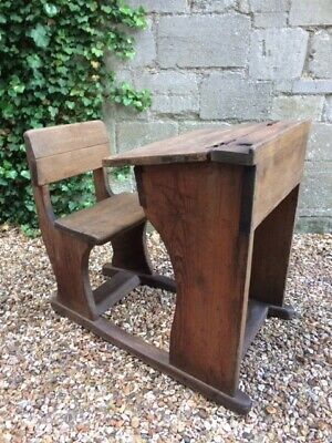 Vintage Original Oak School/ Homework Desk With Chair - Good Condition for Age