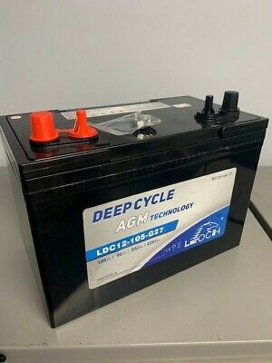 12 Volt 108 AH AGM Sealed Solar Marine Deep Cycle Battery Rechargeable Leoch NEW Marine Deep Cycle