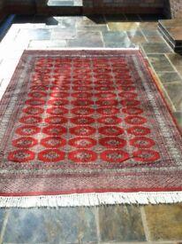 Red hand made silk rug