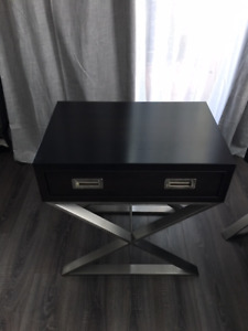 Two contemporary solid maple wood nightstands