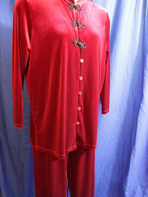 Impressions Women's 2pc Pajama Set Lounge Wear Red Oriental Knotted Buttons 1X