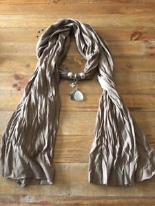 Woman's Scarf with Attached Jewelry