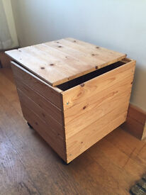 Wooden storage cube (on wheels) with lid