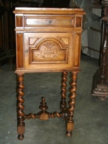 Rare French walnut barley twist marble top stand probably late 1800