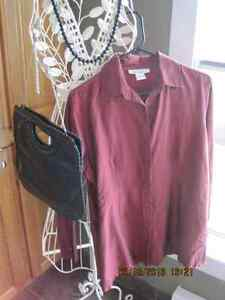 ANNA and FRANK 100% Silk Burgundy Red Ladies Shirt