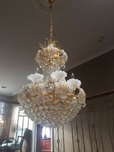 LARGE CRYSTAL GOLD-PLATED CHANDELIER