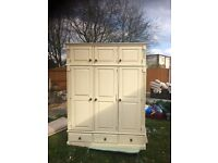Double & Triple Distressed Shabby Chic Cream Pine Wardrobes