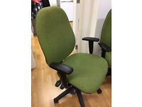 2 Office Chairs - £50 for the 2 - adjustable, revolving chairs with green covers