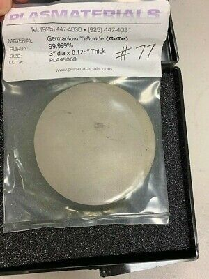 Germanium Telluride Gete Sputtering Target 3 D X 0.125 Thick 99.999 Pure