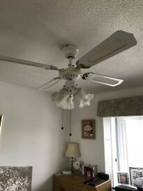 White ceiling fan with three lights