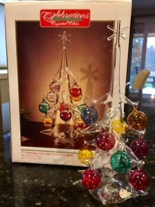"""9"""" Glass Christmas Tree with Colored Glass decorations"""