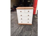Painted Shabby Chic Solid Pine 3+2 Chest of Drawers VGC White & Antique Colour