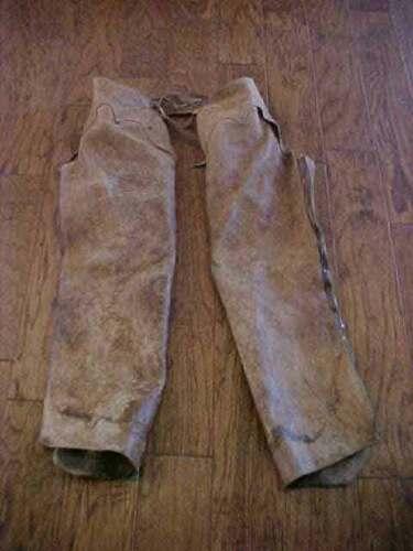 Ranch Worn Tan Leather Shotgun Work Chaps Free Shipping