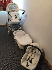 3 In 1 Whicker white pram