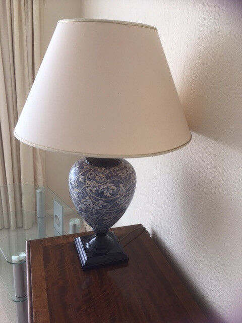 Stylish Blue patterned lamp with cream shade