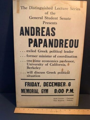 1968 Poster, Andreas Papandreou, Greek Political Leader, University of Maine