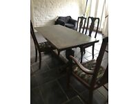 Solid elm dining table and chairs