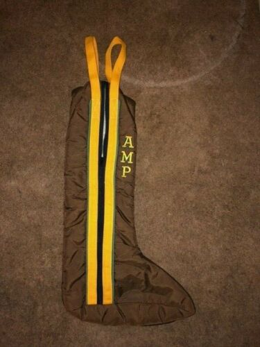BROWN & GOLD FLEECE LINED TALL ENGLISH BOOT BAG WITH HANDLES 23 1/2