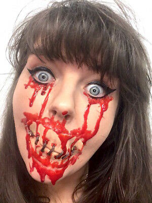 Halloween Prosthetic Make-Up Stitched up Mouth SPFX Cut Scar Wound Bloody Gore (Cut Mouth Halloween Makeup)