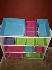 Toy Storage Unit with Bins