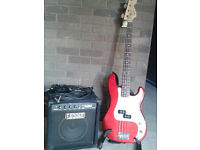 Bass Guitar and Amplifier
