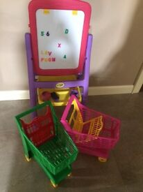 Blackboard and 2 shopping Trolleys (AS NEW)