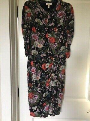 Brand New REBECCA TAYLOR womens Black Multi Jersey Knit Dress M Ruched Gathered (Gathered Knit Dress)