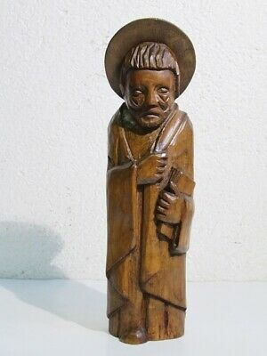 Statue Wooden Figure Man with Book Item Devotional Period Xx Century