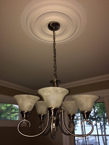 Gorgeous 5-Light Chandelier in Brushed Nickel - Also maching....