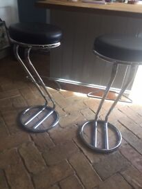 2 chrome and leather seat bar stool