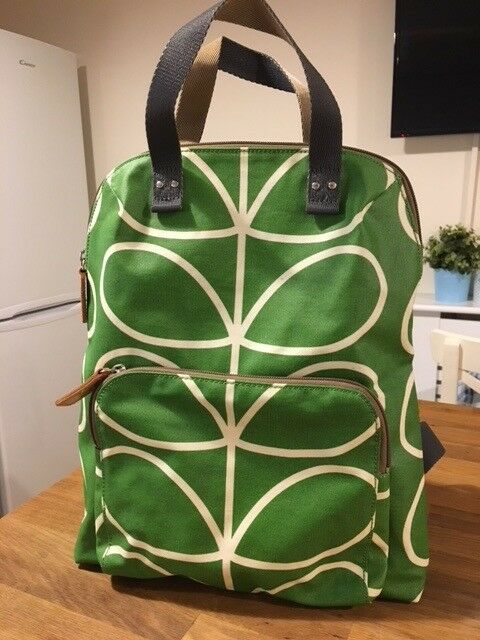 6cca6f37a164 Orla Kiely Giant Linear Apple Green large ladies backpack