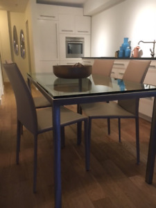Glass Top Dining Table with Brushed Nickel legs