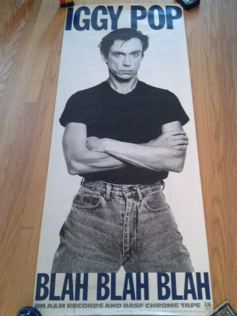 IGGY POP Blah Blah Blah Very Large Promo Poster Stained- 1986