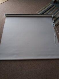 Bathroom roller blind, beige colour to fit window 116cm wide, 107cm drop