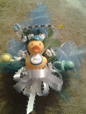 Baby shower MOMMY rubber duck ducky corsage boy girl green, pink or blue  ](Ducky Baby Shower)