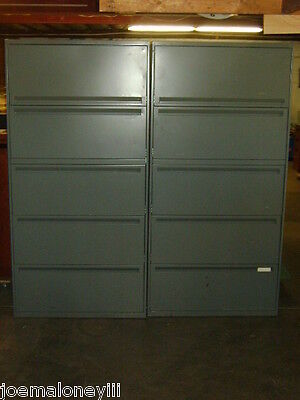 Five Drawer Lateral Gray Beige Office Filing Cabinet W Pull Out Shelf