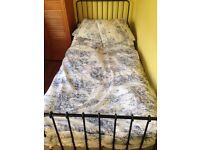 IKEA black metal single bed and mattress