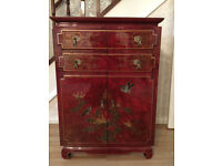 Red Lacquer and inlaid Hi Fi Cabinet