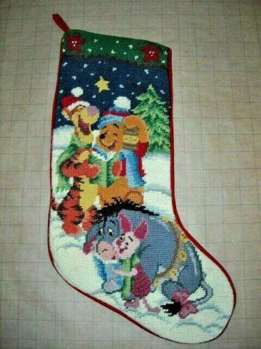 "Disney Pooh 100 Acre Collection Needlepoint 18"" Christmas Stocking Tigger Piglet"