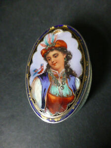 ANTIQUE SOLID SILVER  ENAMELED PORTRAIT SNUFF BOX - SOLD SILVER ENAMEL BOX