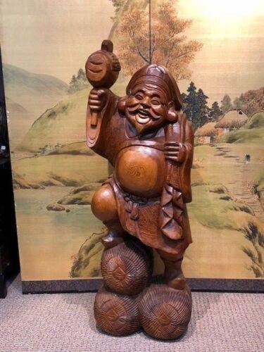 Japanese Wood Carving Daikoku Happy Buddha Okimono