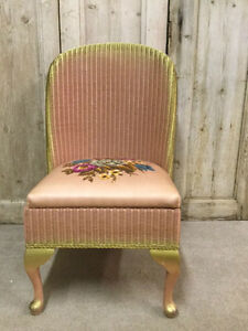 Original Vintage Pink & Gold 1950's Retro Floral Kitsch LLOYD LOOM Nursing Chair