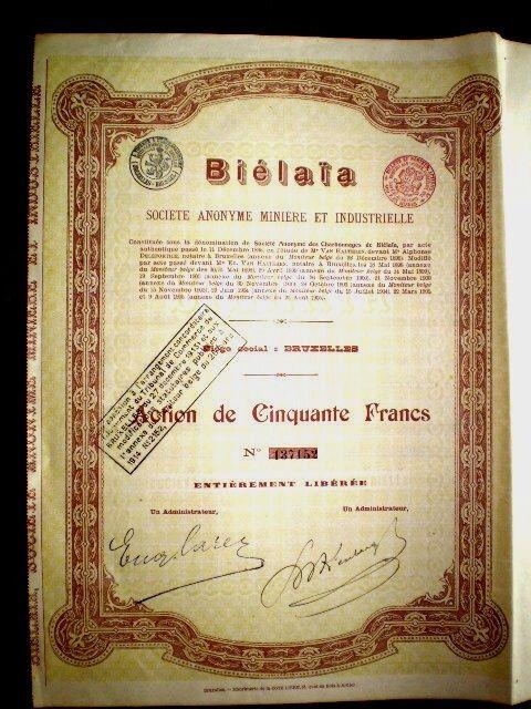 Biélaïa minière et industrielle  share certificate  Russia 1905
