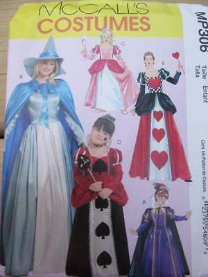 SEWING PATTERN HALLOWEEN COSTUME KID SZ 3-8 QUEEN OF HEARTS GOOD WITCH UNCUT - Queen Of Hearts Costume Pattern