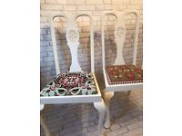Pair of solid wood Shabby Chic chairs