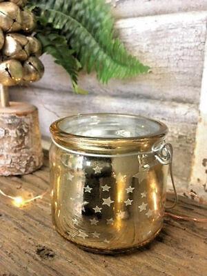 Halloween Tea Light Jars (Hanging Gold Star Glass Christmas Jar Tea Light Candle Holder Wedding)