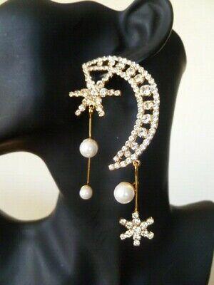 Signed JENNIFER BEHR Asymmetrical Crescent Moon Stars & Faux Pearl Earrings 9cm
